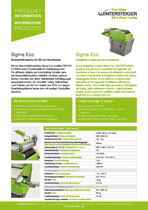 Sigma Eco - Belt grinding machine (EN)