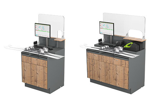 Easystore shop furniture  - Protection made of acrylic glass for adjustment and cash desks.