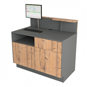 Cash desk 125 with with double doors and drawer